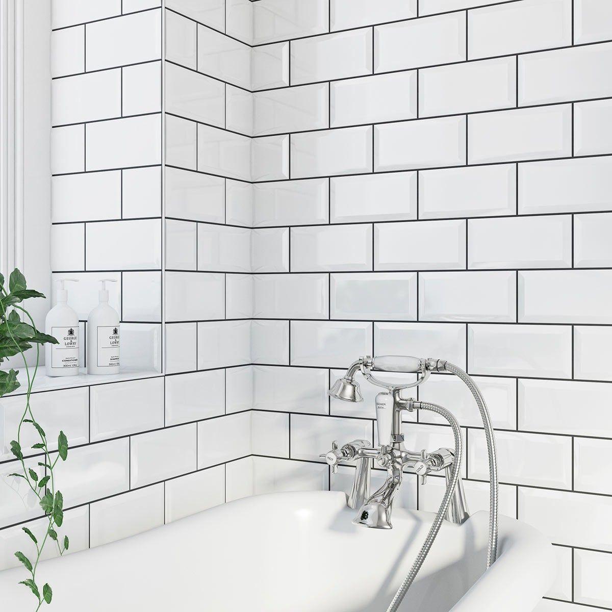 British Ceramic Tile Metro Bevel White Gloss Tile 100mm X 200mm White Bathroom Tiles Metro Tiles Bathroom Tile Bathroom