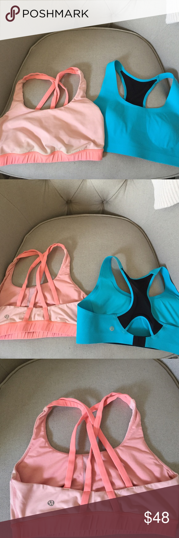2 Lululemon Sports bras! Read description below! 2 Lululemon sports bras. These are re-poshes. ❤️ 1. Light orange Energy bra - size dot removed but sold to me as a 10. I think it's more of an 8. Light usage but in overall good condition! 2. Light blue Bitty Bracer bra - size 38C. This was sold me as stretchy and it is not. It was also new with tag BUT I had to wash it yesterday so it smelled clean. 😉 This would fit a 36 band width. This is a great deal for 2 LL bras but understand they will…