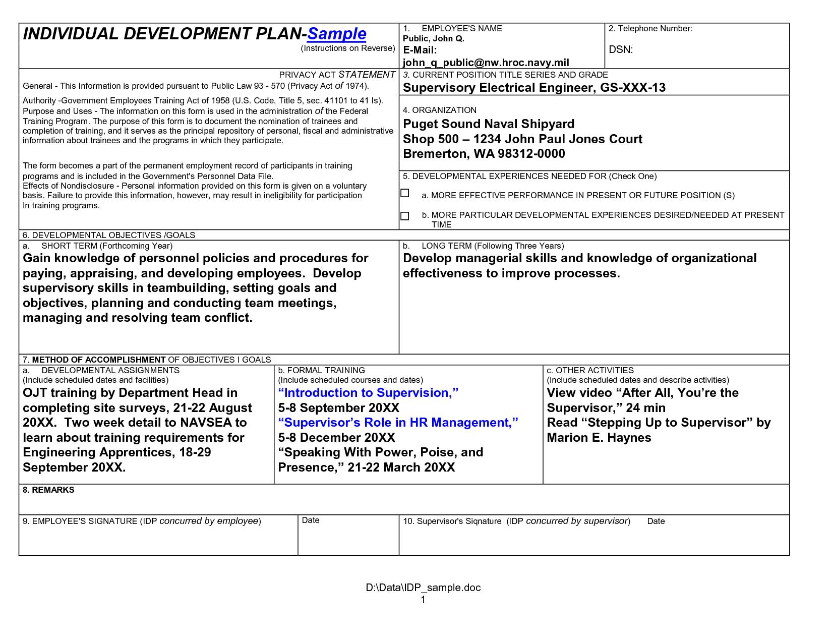individual development plan sample unq3dsmd