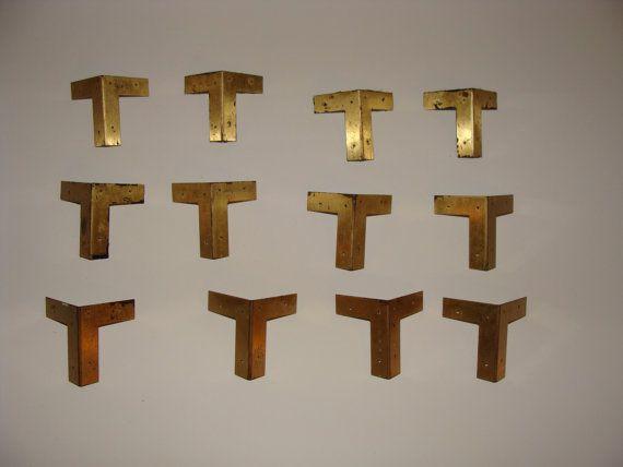 furniture corner pieces. twelve vintage campaign corner trim pieces all original with nails hardware set brass gold hollywood furniture
