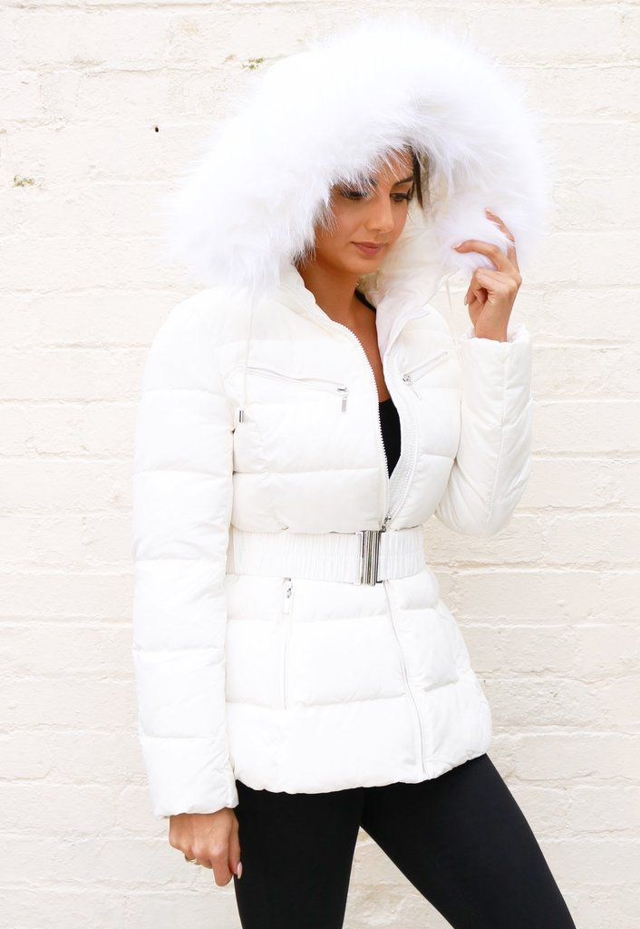 9daf8eaa83c3c Harper Quilted Longline Hooded Puffer Coat with Faux Fur Trim   Belt in  White