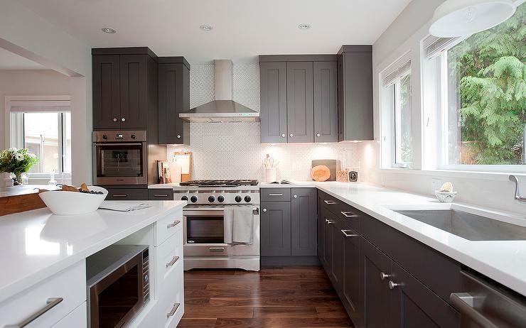 Dark Gray Shaker Kitchen Cabinets Transitional Kitchen Grey