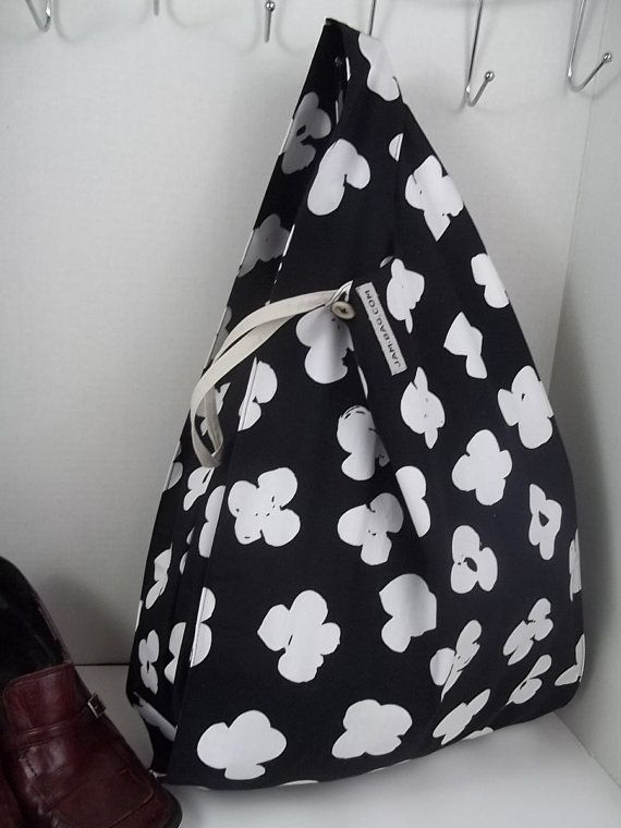 44062294112 FOLDBAG    Eco Friendly Grocery Bag Black and White by dyampyon Folding  Shopping Bags