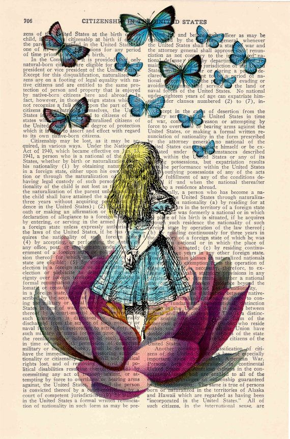 Alice in Wonderland Looking for a blue butterfly on ...