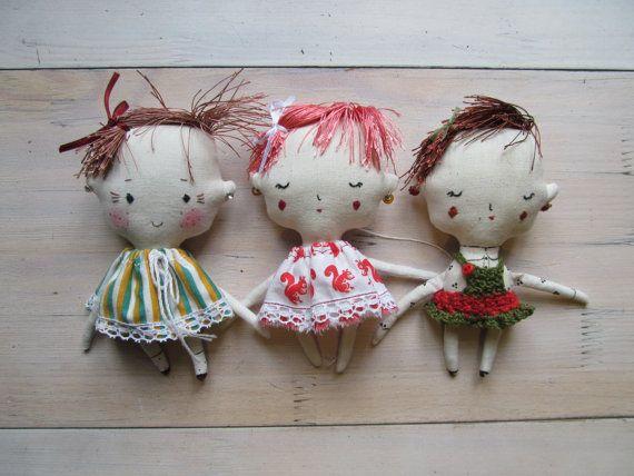 Stuffed textile rag doll  Miniature doll  Fabric toy by KukloFerma, $19.00