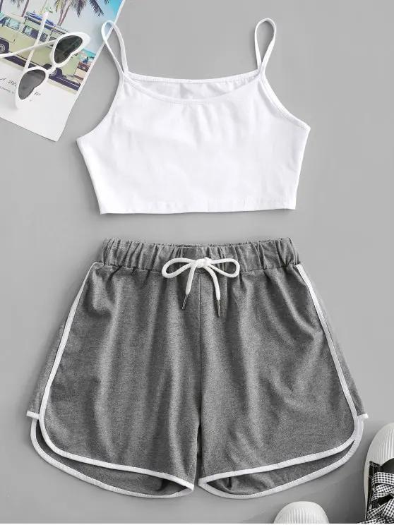 Crop Cami Top and Piping Shorts Set MULTI