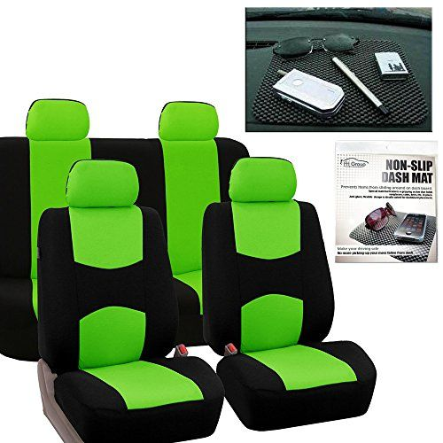 FH GROUP FB050114 Full Set Flat Cloth Car Seat Covers Green Black