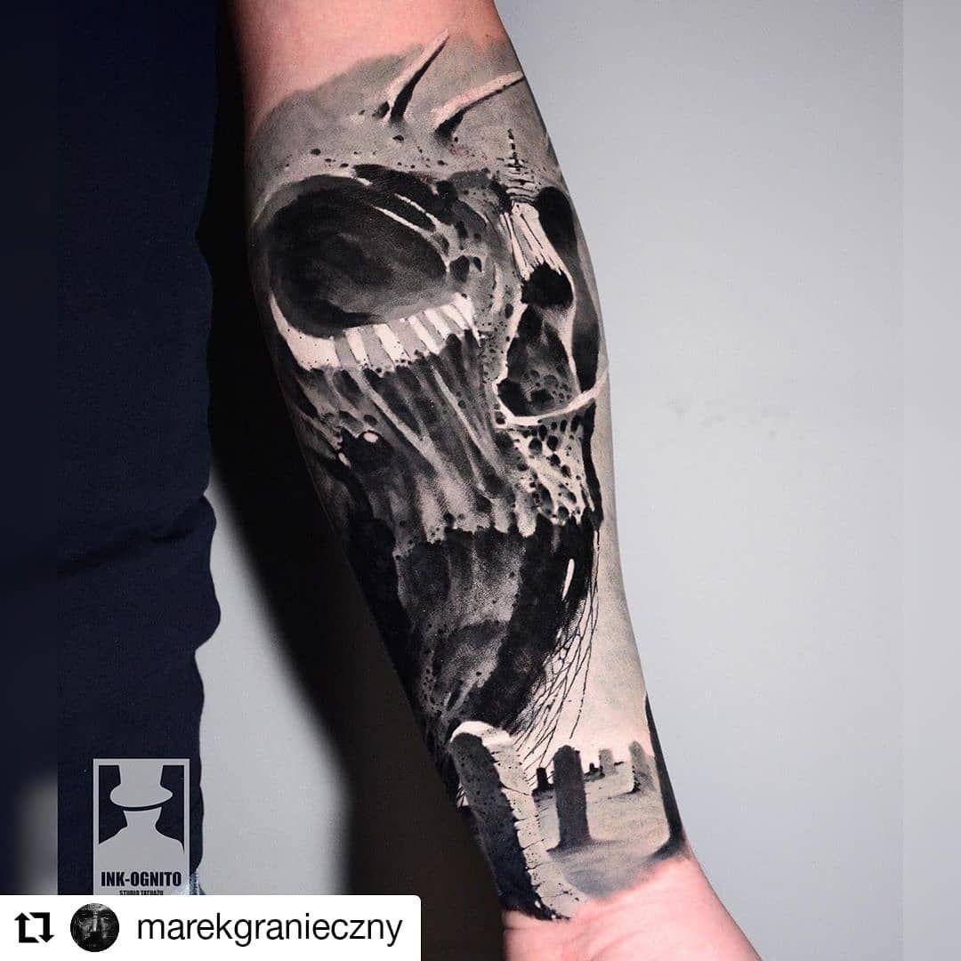 #Repost @marekgranieczny • • • • • • INK-OGNITO TATTOO  tatuaż wykonany w @ink_ognito_tattoo  początek rękawa... #tattoo #tattooart #tattooartist #tattoodesign #art #artwork #drawing #design #ink #inked #blackandgreytattoo #skulltattoo #skull #graveyard #gravestone #inkstagram #darkart #instatattoo #polandtattoos #marekgranieczny