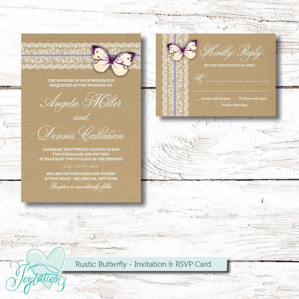 Printable Rustic Butterfly Wedding Invitation And Rsvp Card