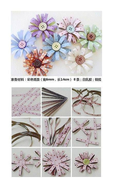 Flores hechas con tiras de papel. Utilizar para decorar el borde de la mesa dulce o dejarlos sueltos en la mesa de los invitados.