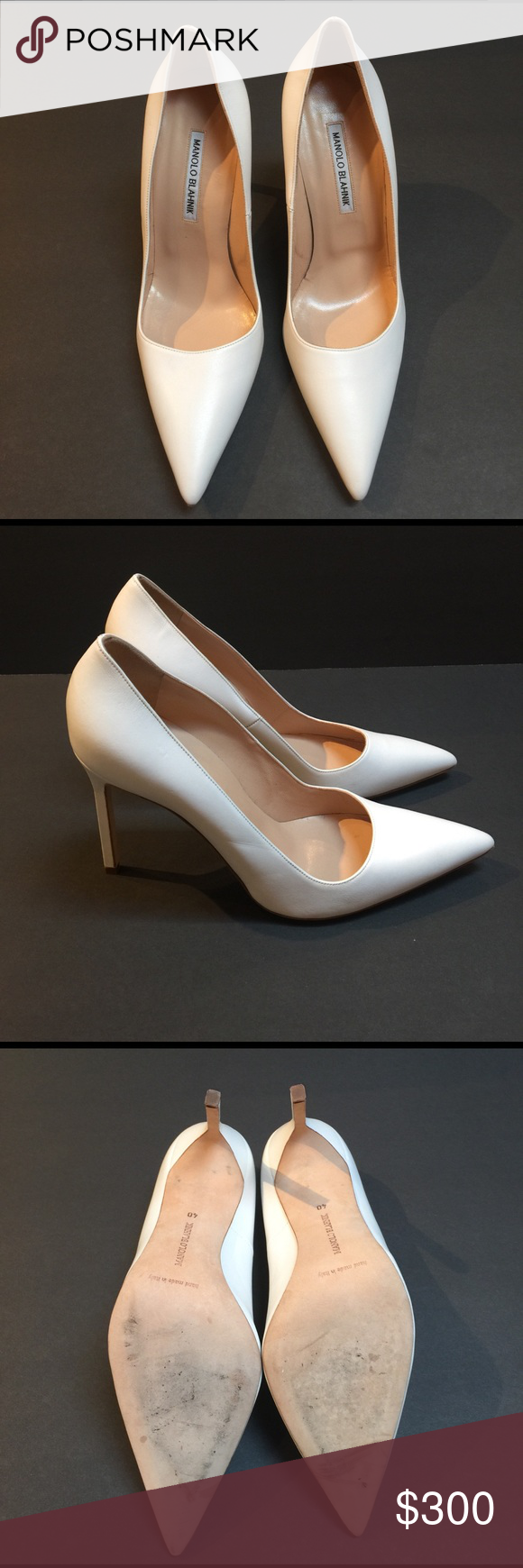 "Manolo Blahnik White Leather BB Pumps Manolo Blahnik white smooth kidskin BB pumps.  Super chic, this is a great classic pump to have for your wardrobe.  Not brand new, has been worn once indoors.  The heel has a flaw, which you can see in the photo.  Otherwise, this is in near new condition.  Approximately 4"" heels.  Size 40 (US 10) but runs small, fits like a 39 (US 9).  Includes original dust bag, no box.  Still original price in stores. Manolo Blahnik Shoes Heels"