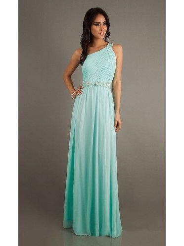 7585c286006246 Lange Jurk · Exit Slips · A-Line Princess One Shoulder Chiffon Prom Dress