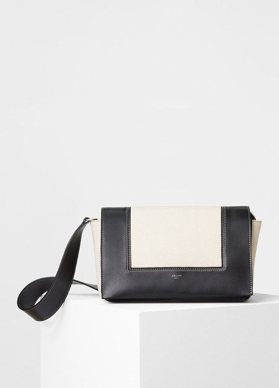 dcd2407b3f Medium Frame Shoulder Bag in Shiny Smooth Calfskin and Textile - Céline