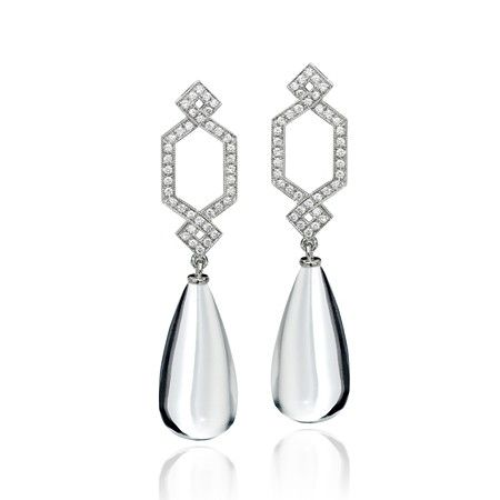 Crossover Earrings in White Gold with Rock Crystal & Diamonds