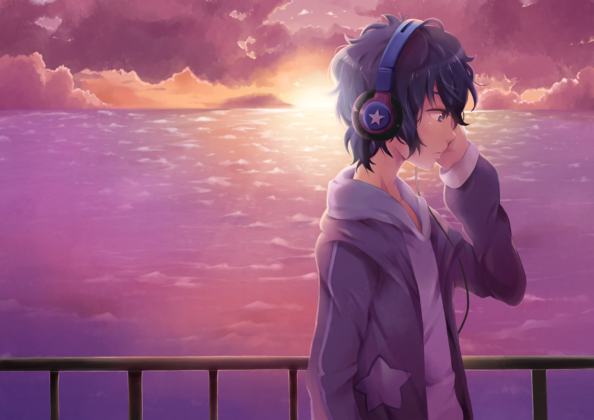 Anime Original Headphones Boy Original (Anime) Wallpaper