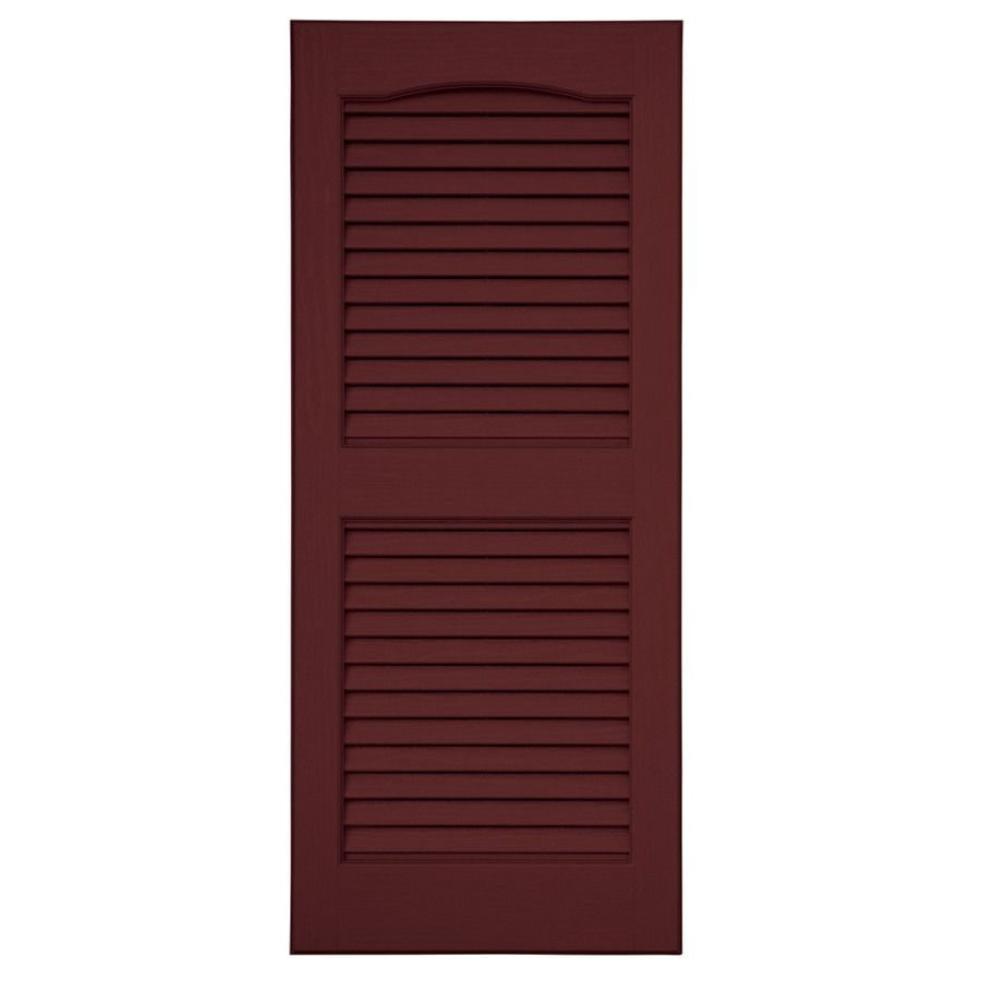 Severe Weather 2 Pack Bordeaux Louvered Vinyl Exterior Shutters Common 15 In X 55 In Actual 14 5 In X 54 5 Vinyl Exterior House Doors Colors Severe Weather