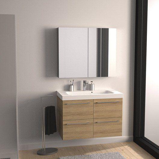 Meuble de salle de bains Remix imitation chêne 91x48.5 cm, 4 tiroirs ...