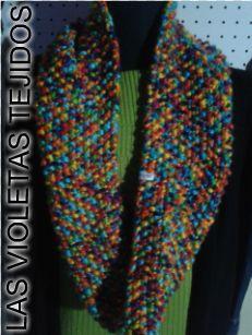 bufanda circular en lana de colores punto arroz