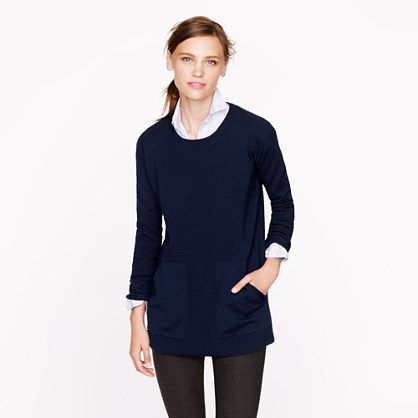 J.Crew - Merino pocket tunic in Garnet with Classic Block Monogram ...