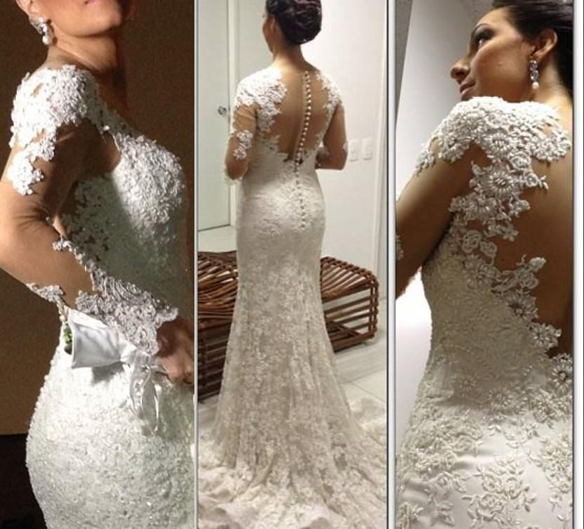 2015 New Mermaid White Wedding Dresses V Neck Illusion Long Sleeve Backless Bridal Gowns Sequin Lace Applique Custom Made Wedding Dress Online with $156.03/Piece on Weddinggirlsdress's Store | DHgate.com
