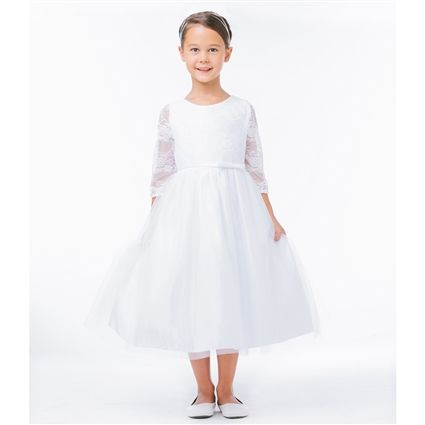 This gorgeous white tea length dress features exquisite lace three-quarter sleeves to match the lace covering the bodice.