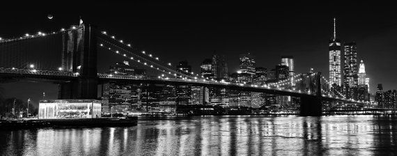 New York Cityscape Brooklyn Bridge B/&W PANORAMIC CANVAS WALL ART Box Frame