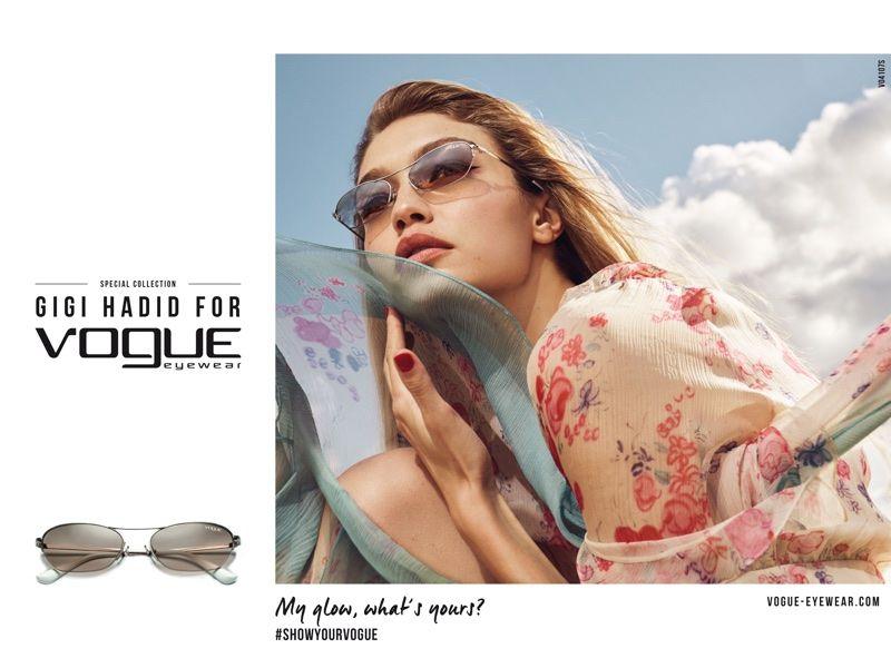 49b288cfa7 Supermodel Gigi Hadid poses in chic sunglasses for Vogue Eyewear 2018  collaboration