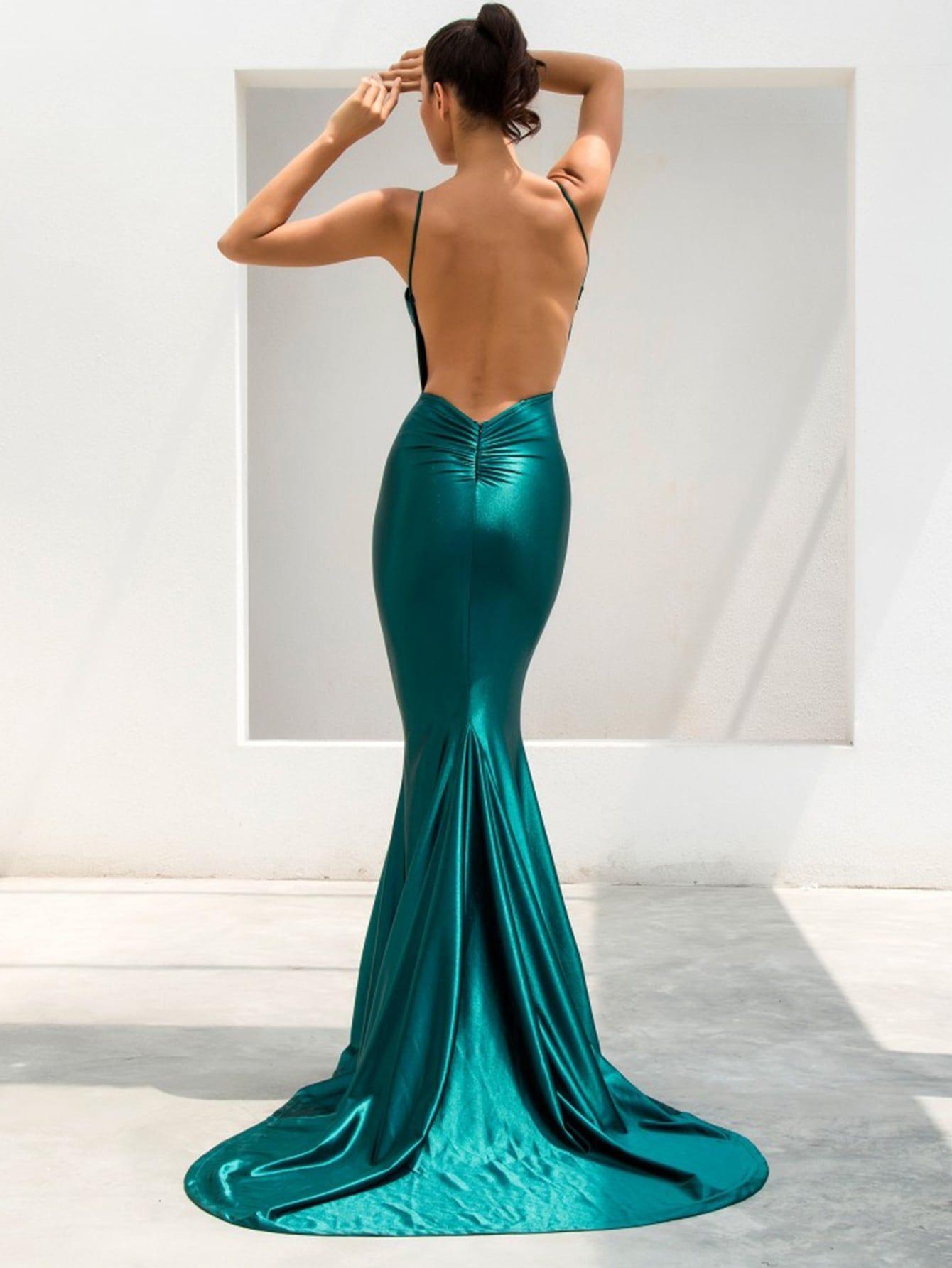 Backless Fishtail Hem Satin Cami Prom Dress In 2021 Green Evening Gowns Emerald Green Evening Gown Gala Dresses [ 1785 x 1340 Pixel ]