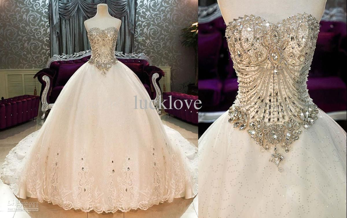 Wedding Gowns With Bling: Real Picture Bling Bling Crystals Luxury Sweetheart Lace