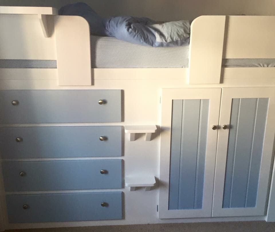 Small Box Room Cabin Bed For Grandma: 4 Drawer Cabin Bed In White And Sky Blue For A Young Boys