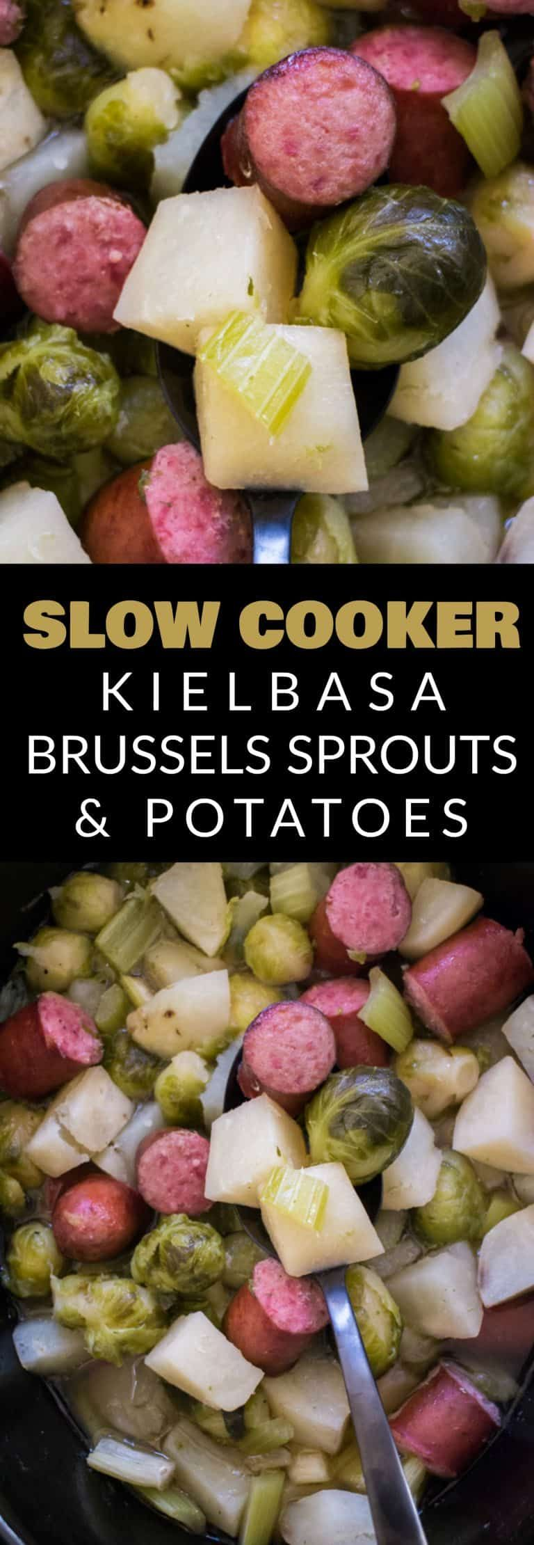 Slow Cooker Kielbasa, Brussels Sprouts and Potatoes #ricecookermeals