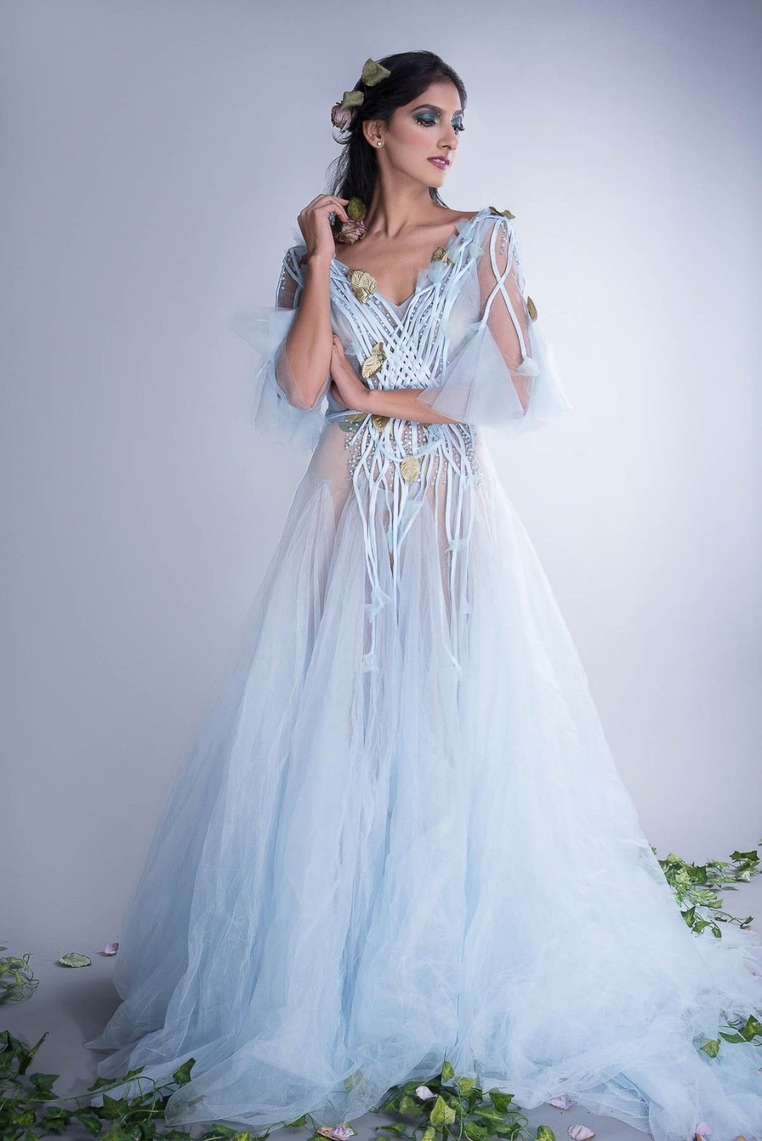 44d460accb3d Light Blue Whimsical Wedding Quinceanera Tulle Custom-Made Gown w/ Leaves  Manufacturer: Unbranded Size: See Measurements Below – fits a Size 2  Manufacturer ...