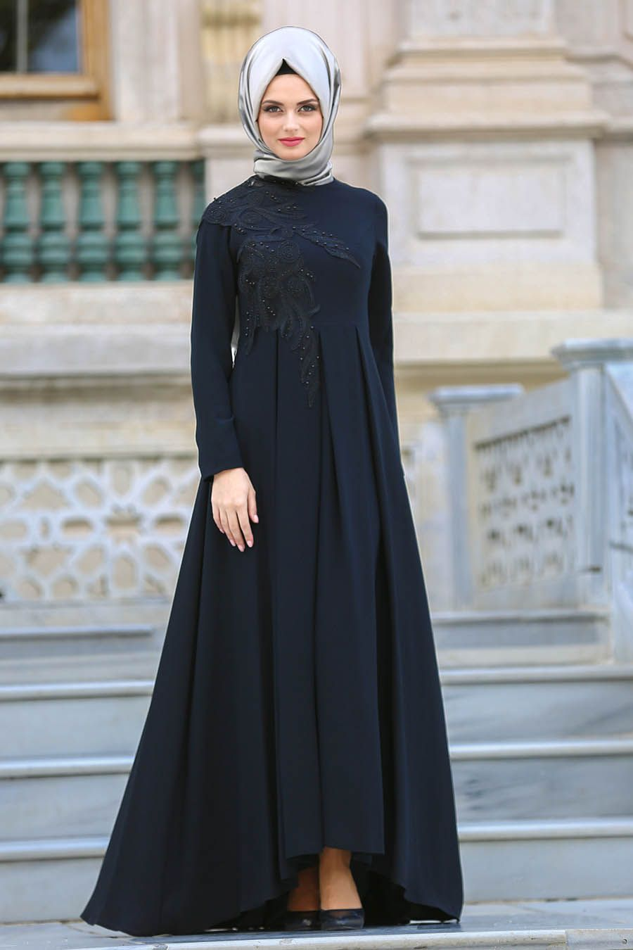 ab65fd86699d7 2018 Yeni Sezon Abiye Koleksiyonu - Neva Style - Pileli Siyah Tesettür Abiye  Elbise 3520S
