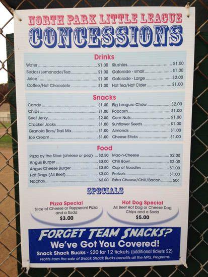 Snack bar information menu board pinterest snacks for Snack bar menu