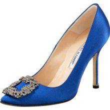 Manolo Blahnik Something Blue Satin Pump - Carrie Bradshaw shoes in the  Movie!