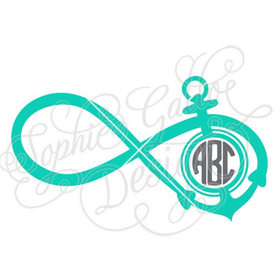 Infinity Anchor Monogram SVG DXF PNG Digital Download Files Silhouette Cricut Vector Clipart Graphics Vinyl Cutting Machine Screen Printing