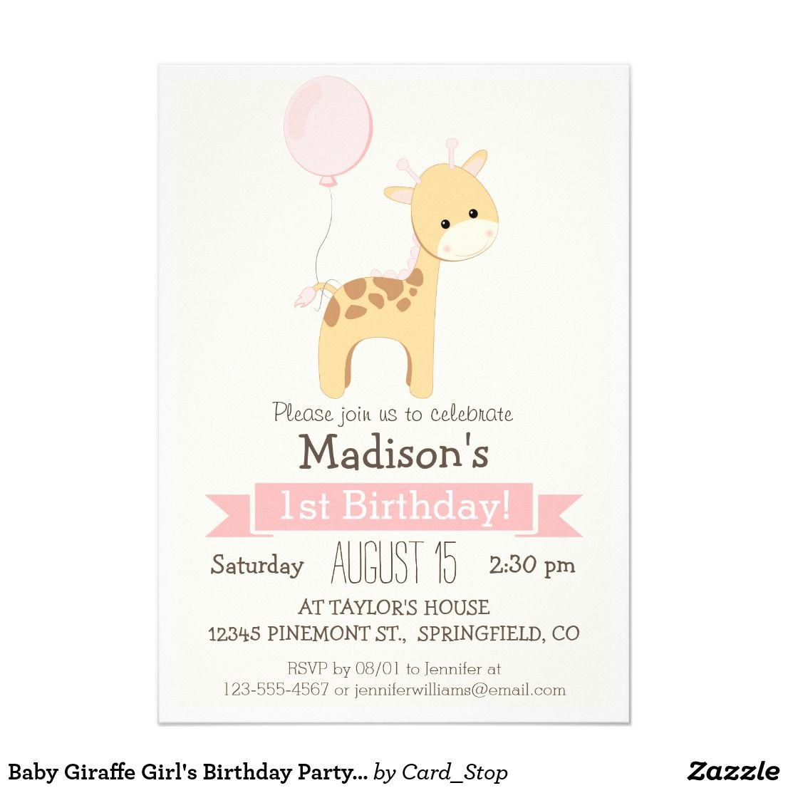 Baby Giraffe Girl\'s Birthday Party Invitation | Baby giraffes ...