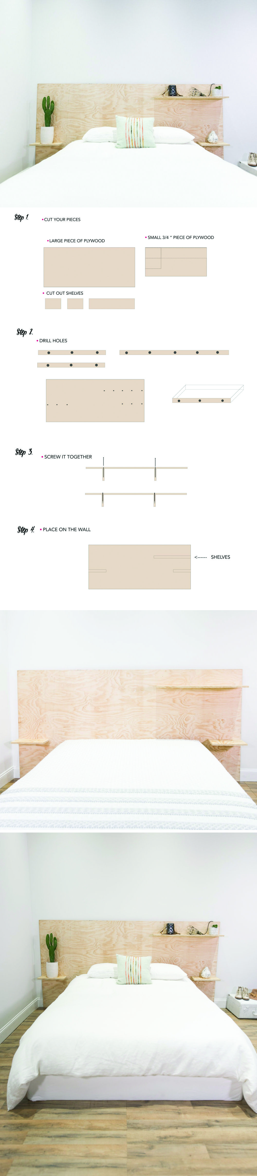DIY Minimalist Plywood Shelf Headboard | Headboard with ...