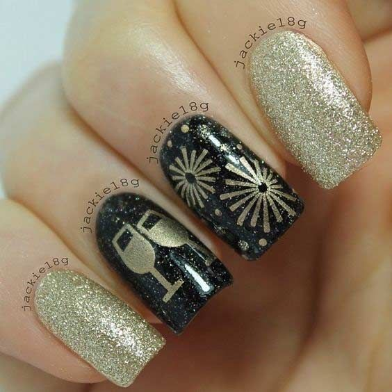 Black And Gold New Year S Eve Nail Design