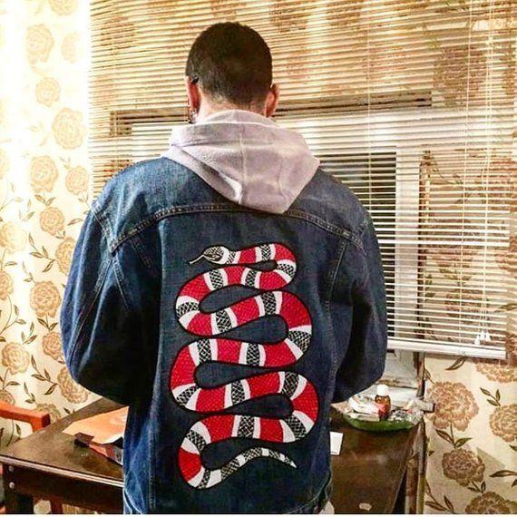e7fc22cc1096 Gucci Snake custom denim jacket
