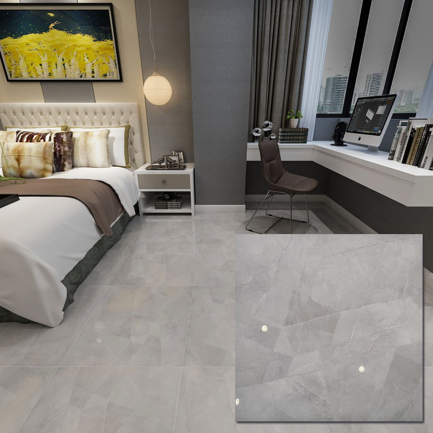Grey 600 X 600mm Polished Ceramic Floor Tile In 2020 Ceramic Floor Tile Grey Ceramic Tile Ceramic Floor Tiles