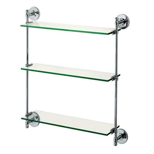 Premier Chrome Triple Glass Shelf Gatco Wall Mounted Shelving Bathroom  Racks U0026