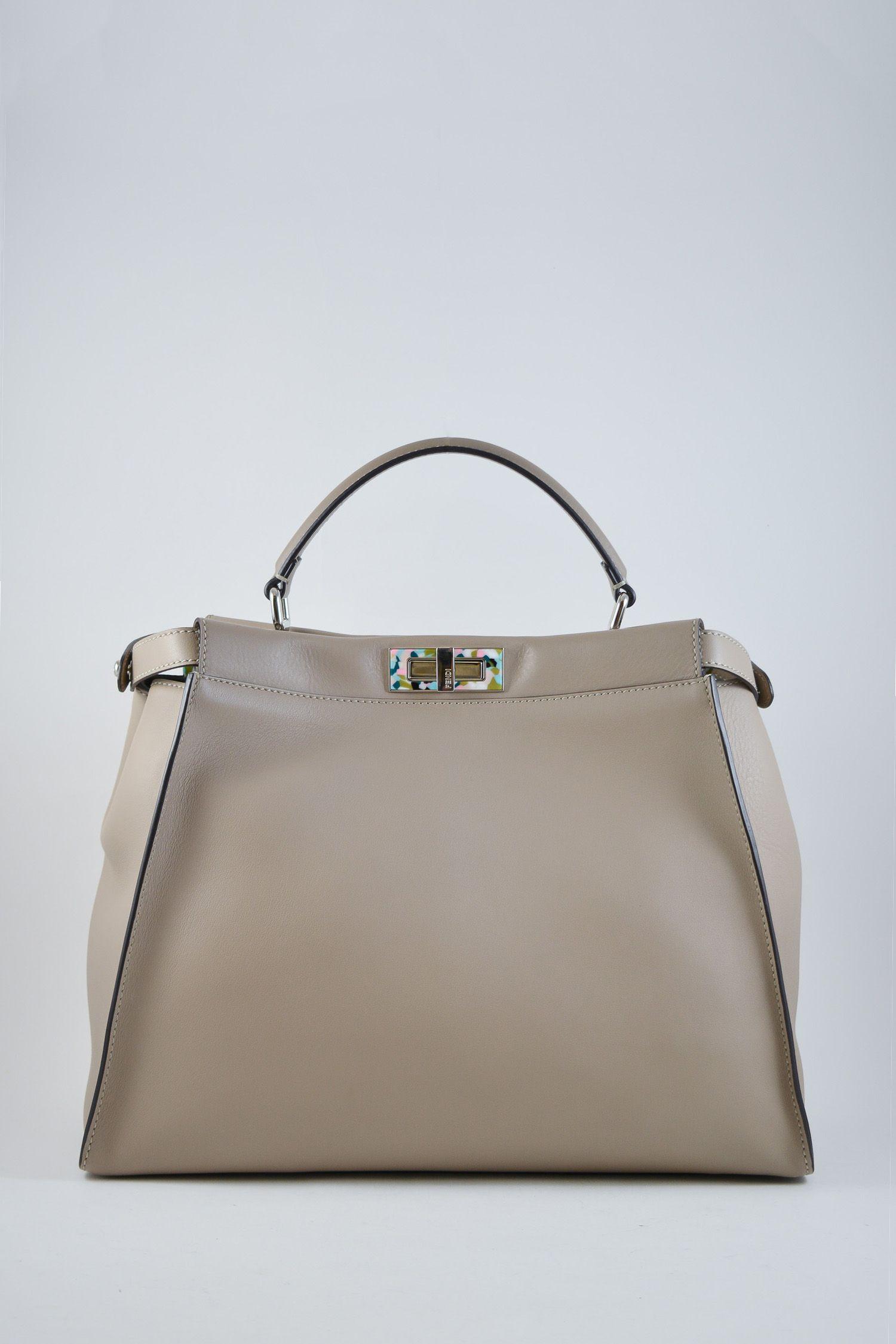 8de8c61e0447 Fendi large beige Peekaboo bag with multi-coloured tortoiseshell accent.  Includes removable shoulder strap
