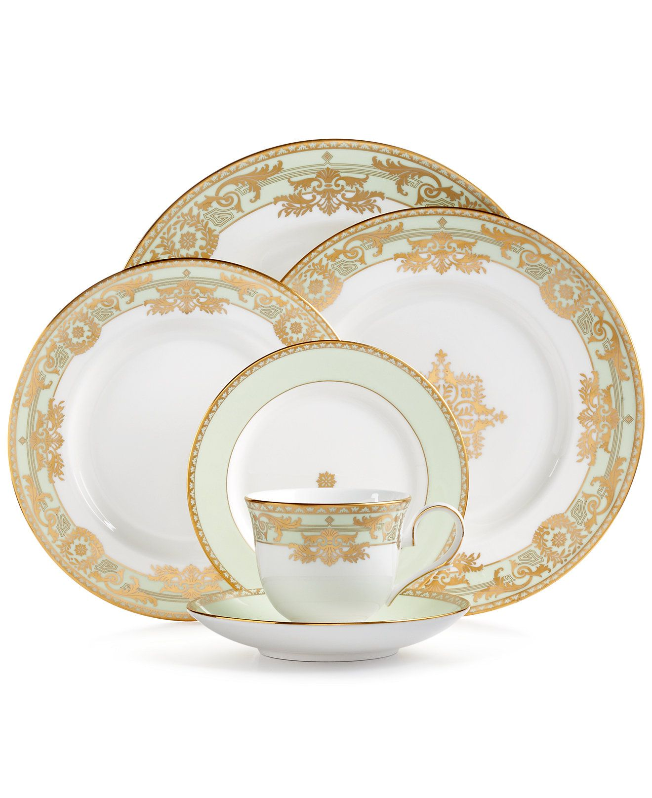 Lenox Republic Gold Banded Ivory China Saucer by Lenox