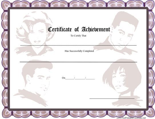 This printable certificate of achievement has a plum purple - printable certificates of achievement