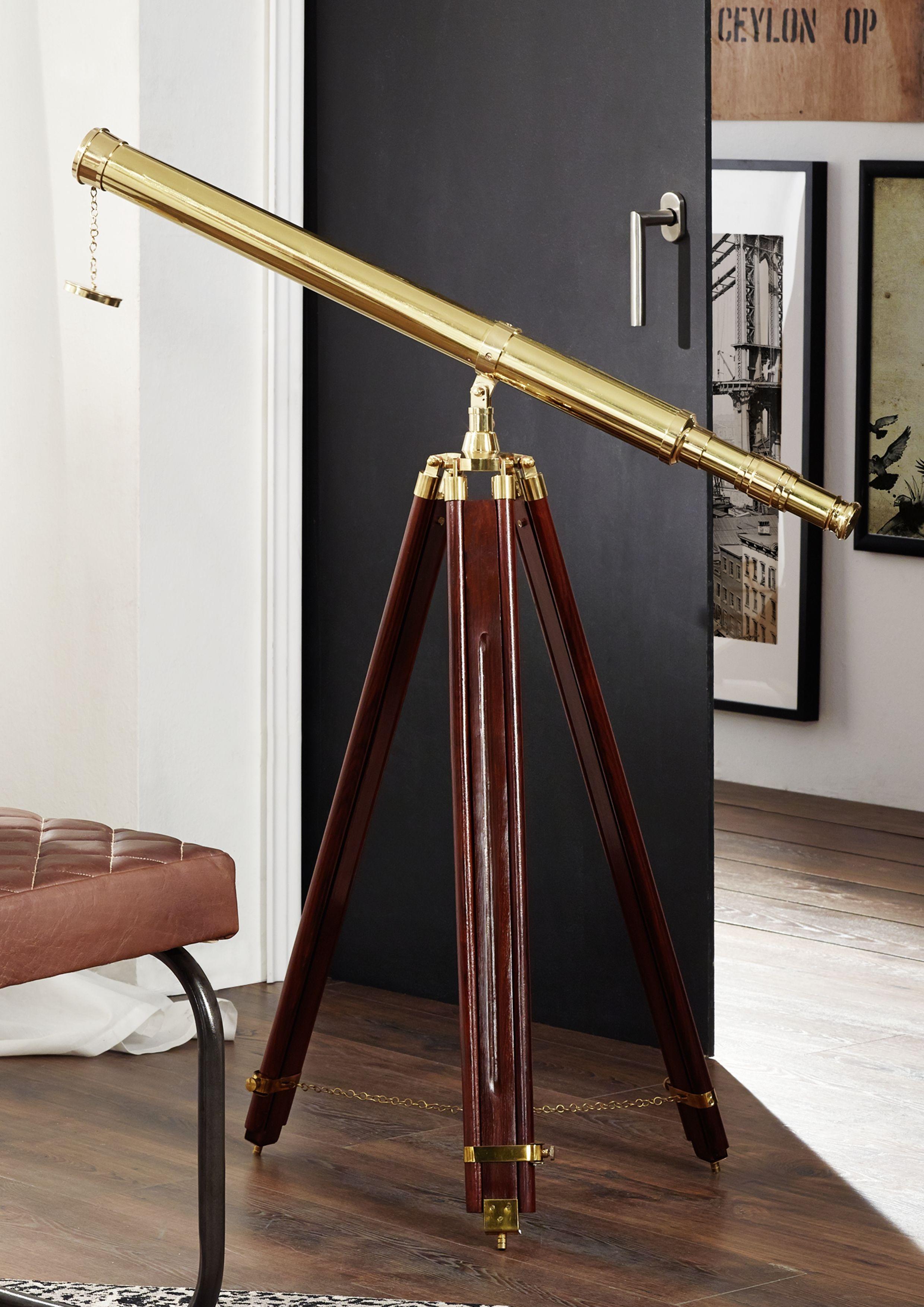 Deko Teleskop Aus Holz Und Messing. Dieses Schöne Accessoire Bringt Träume  Von Der Unendlichkeit