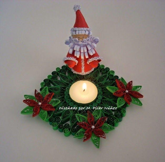 Christmas Candle Holders By M. Pilar Núñez (Pily) www.creaquilling.blogspot.com