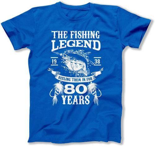 80th Birthday T Shirt Fishing Clothing Grandpa Gift Ideas For Him Bday TShirt Custom Age The