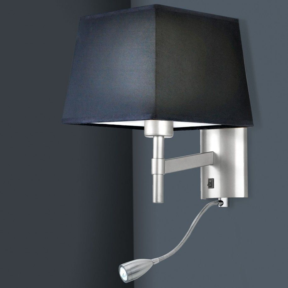 Modern Black Bedroom Wall Reading Lamp With Single Switch On And ...