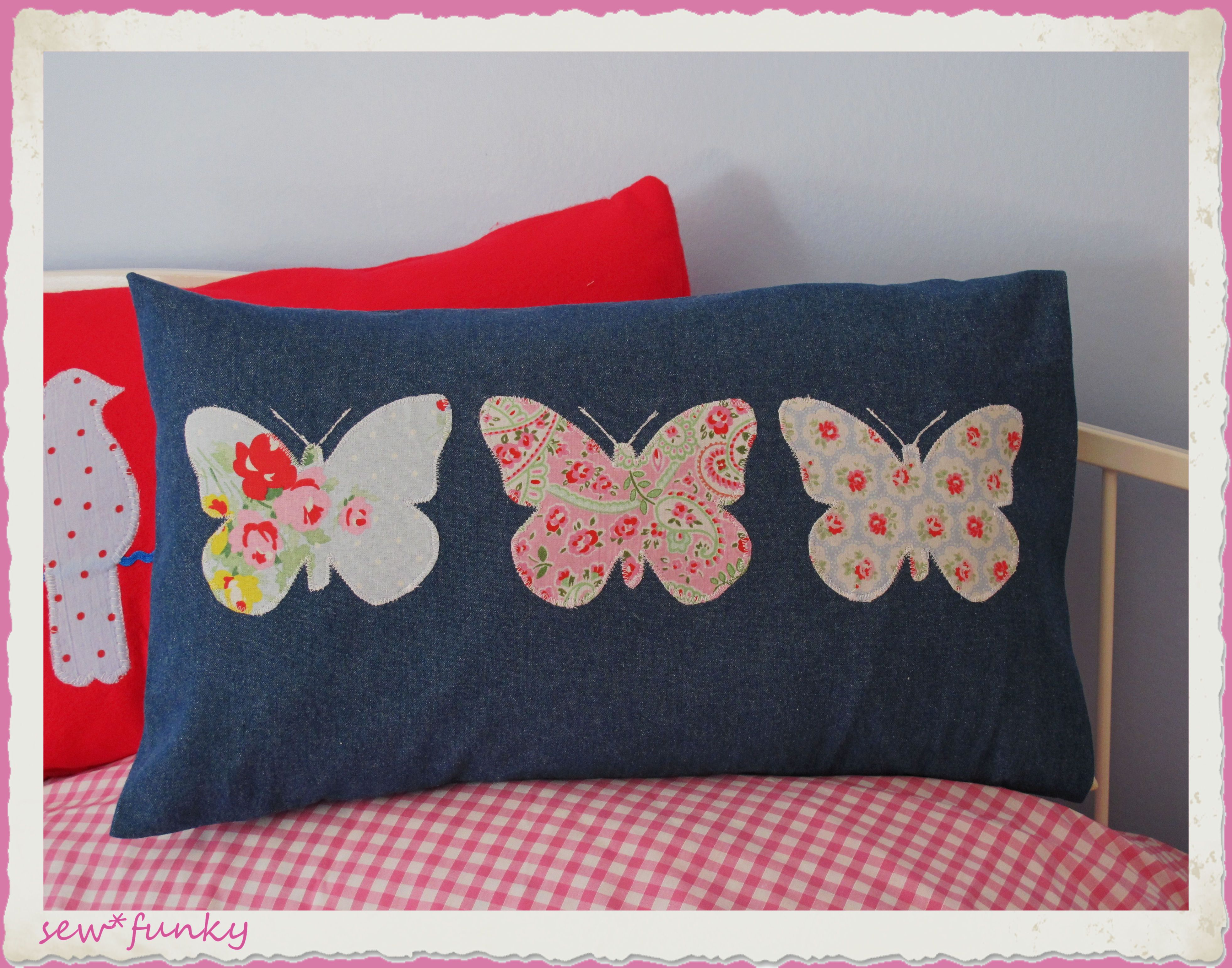 Appliqué butterfly cushion in denim, only an image but can probably ...